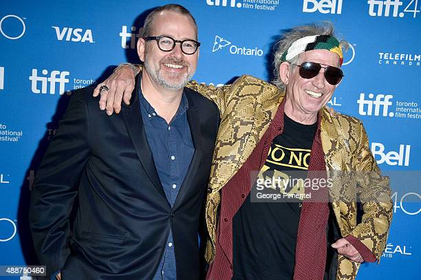 Director/Producer Morgan Neville and musician Keith Richards attend the Keith Richards Under The Influence press conference at the 2015 Toronto...