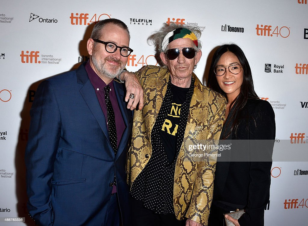 Director/Producer Morgan Neville, musician Keith Richards and Executive Producer Lisa Nishimura attend the 'Keith Richards: Under The Influence' premiere during the 2015 Toronto International Film Festival at Princess of Wales Theatre on September 17, 2015 in Toronto, Canada.