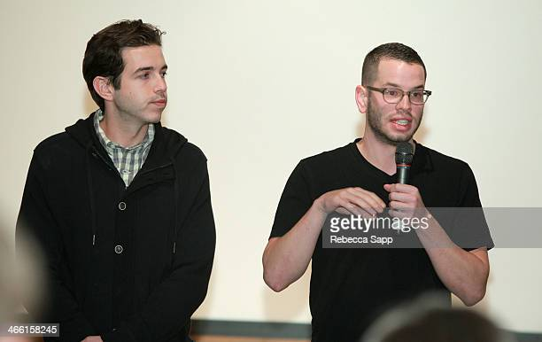 Director/producer Niko Philipides and director/producer Ben Schuder speak at the screening of The Village of Peace at the at the Santa Barbara Museum...