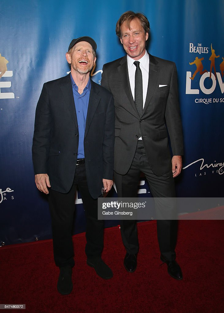Director/producer Ron Howard (L) and musical director Giles Martin attend the 10th anniversary celebration of 'The Beatles LOVE by Cirque du Soleil' at The Mirage Hotel & Casino on July 14, 2016 in Las Vegas, Nevada.