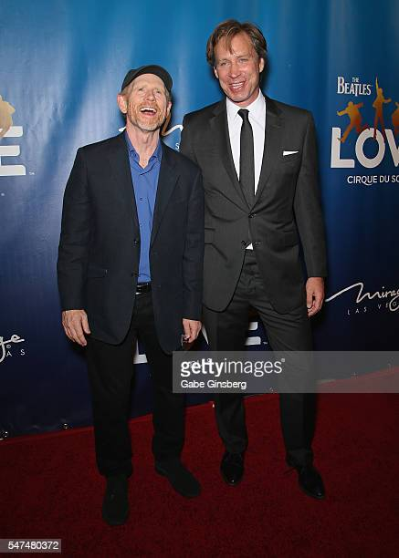 Director/producer Ron Howard and musical director Giles Martin attend the 10th anniversary celebration of 'The Beatles LOVE by Cirque du Soleil' at...