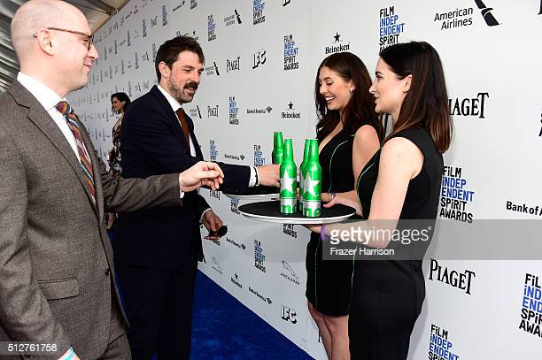 Director/producer Russell Harbaugh and Mike Drall enjoy Heineken beer during the 2016 Film Independent Spirit Awards on February 27 2016 in Santa...