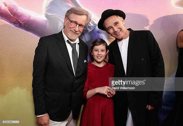 """Director/producer Steven Spielberg, actors Ruby Barnhill and Mark Rylance attend Disney's """"The BFG"""" premiere at the El Capitan Theatre on June 21,..."""