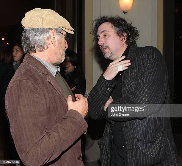 """Director/producer Steven Spielberg and director Tim Burton arrive at the special screening of DreamWorks Pictures' """"Sweeney Todd"""" at the Paramount..."""