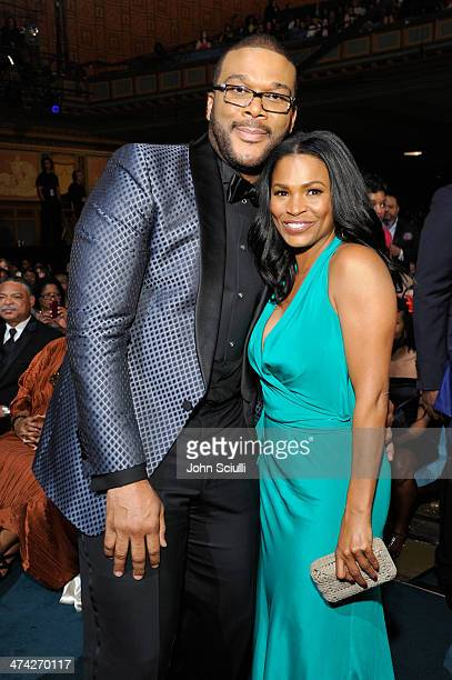 Director/producer Tyler Perry and actress Nia Long attend the 45th NAACP Image Awards presented by TV One at Pasadena Civic Auditorium on February 22...
