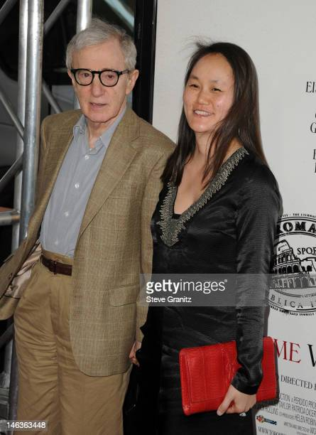 """Director/producer Woody Allen and Soon-Yi Previn arrive at the 2012 Los Angeles Film Festival premiere sponsored by Virgin America of """"To Rome With..."""