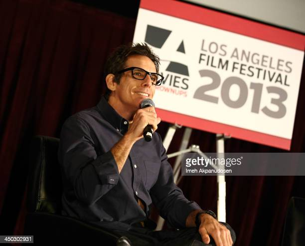 Director/producer/actor Ben Stiller speaks during a Q&A at the screening of 'The Secret Life Of Walter Mitty' at AARP's Movies For Grownups Film...