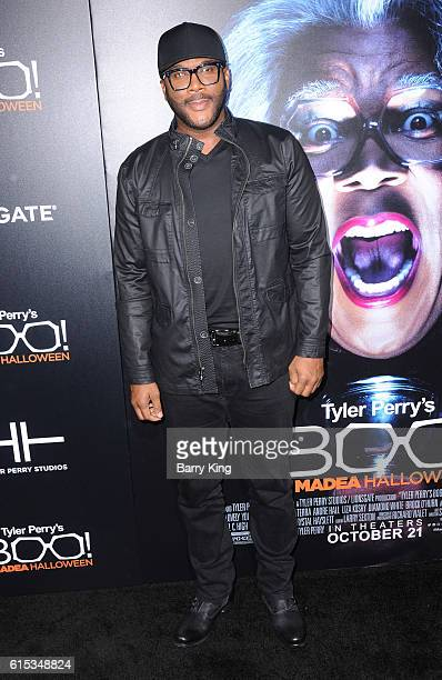 Director/producer/actor Tyler Perry attends the premiere of Lionsgate's' 'Boo A Madea Halloween' at ArcLight Cinemas Cinerama Dome on October 17 2016...