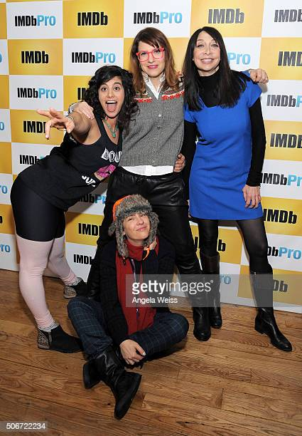 Director/producer/actress Jessie Kahnweiler producer Rebecca Odes actress Illeana Douglas and producer Jill Soloway in The IMDb Studio In Park City...