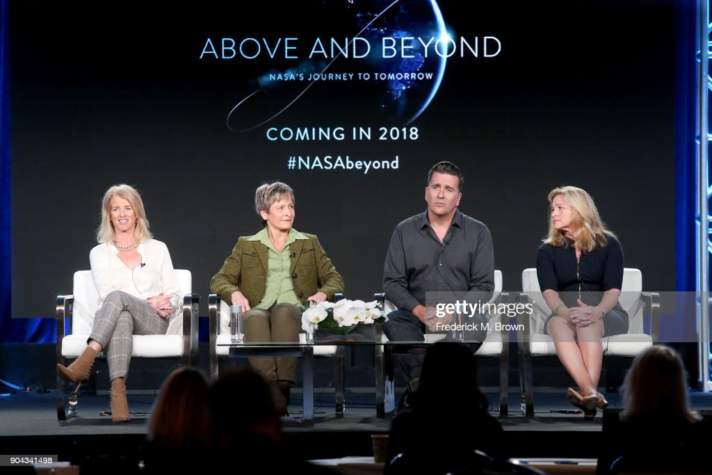 Director/producer/narrator Rory Kennedy, NASA Astronaut Peggy Whitson Ph.D., NASA Engineer Adam Steltzner, and NASA Chief Scientist, 2013-2016, Ellen Stofan of 'Above and Beyond: NASA's Journey to Tomorrow' speak onstage during the Discovery Communications portion of the 2018 Winter Television Critics Association Press Tour at The Langham Huntington, Pasadena on January 12, 2018 in Pasadena, California.