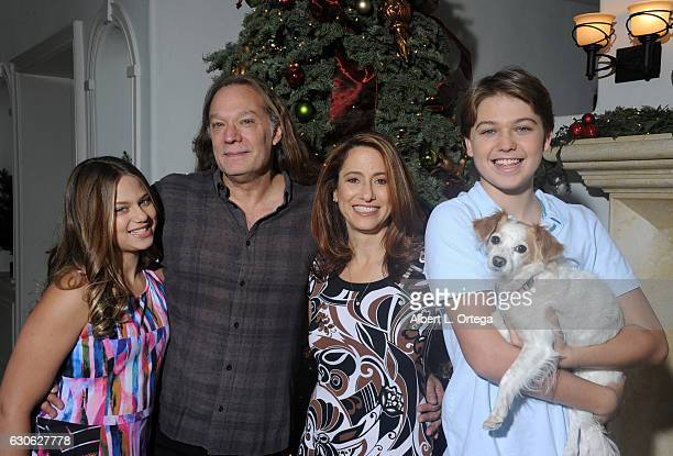 Director/producer/special effects makeup artist Greg Nicotero of AMC's 'The Walking Dead' poses with his daughter Alyssa wife Shari and son Deven in...