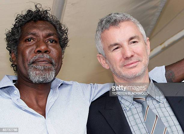 Director/producer/writer Baz Luhrmann is joined by Aboriginal actor David Ngoombujarra outside the Museum of Contemporary Art shortly before the...
