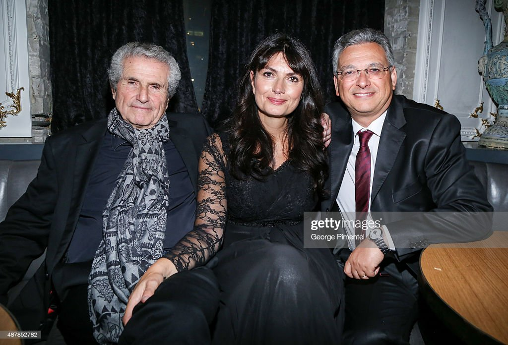 Director/producer/writer Claude Lelouch, screenplay writer Valerie Perrine and producer Victor Hadida attend the 'Un Plus Une' Party during the 2015 Toronto International Film Festival at Byblos on September 11, 2015 in Toronto, Canada.