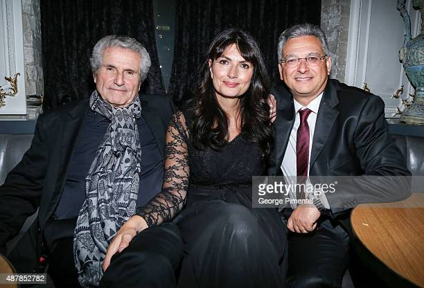 Director/producer/writer Claude Lelouch screenplay writer Valerie Perrine and producer Victor Hadida attend the 'Un Plus Une' Party during the 2015...