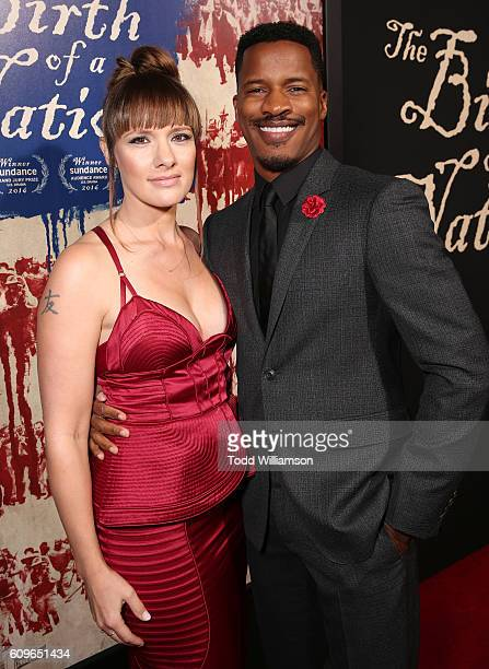 Director/Producer/Writer Nate Parker and wife Sarah DiSanto attend the Los Angeles Premiere of Fox Searchlight's The Birth of a Nation on September...