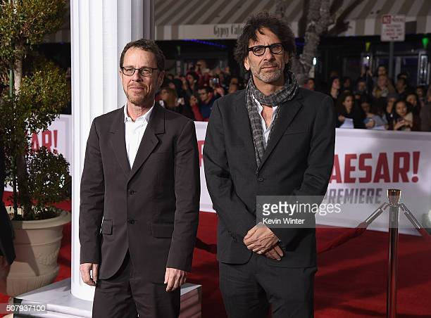 """Director/producer/writers Ethan Coen and Joel Coen attend Universal Pictures' """"Hail, Caesar!"""" premiere at Regency Village Theatre on February 1, 2016..."""