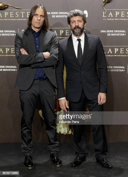 Directors Alberto Rodriguez and Rafael Cobos attend the 'La peste' premiere at Callao cinema on January 11, 2018 in Madrid, Spain.