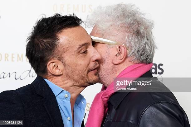 Directors Alejandro Amenabar and Pedro Almodovar attend Fotogramas awards candidates dinner 2020 at Santo Mauro Hotel on February 17, 2020 in Madrid,...