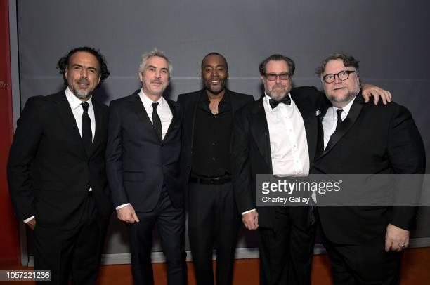 Directors Alejandro Gonzalez Inarritu Alfonso Cuaron Lee Daniels Julian Schnabel and honoree Guillermo del Toro wearing Gucci attend 2018 LACMA Art...