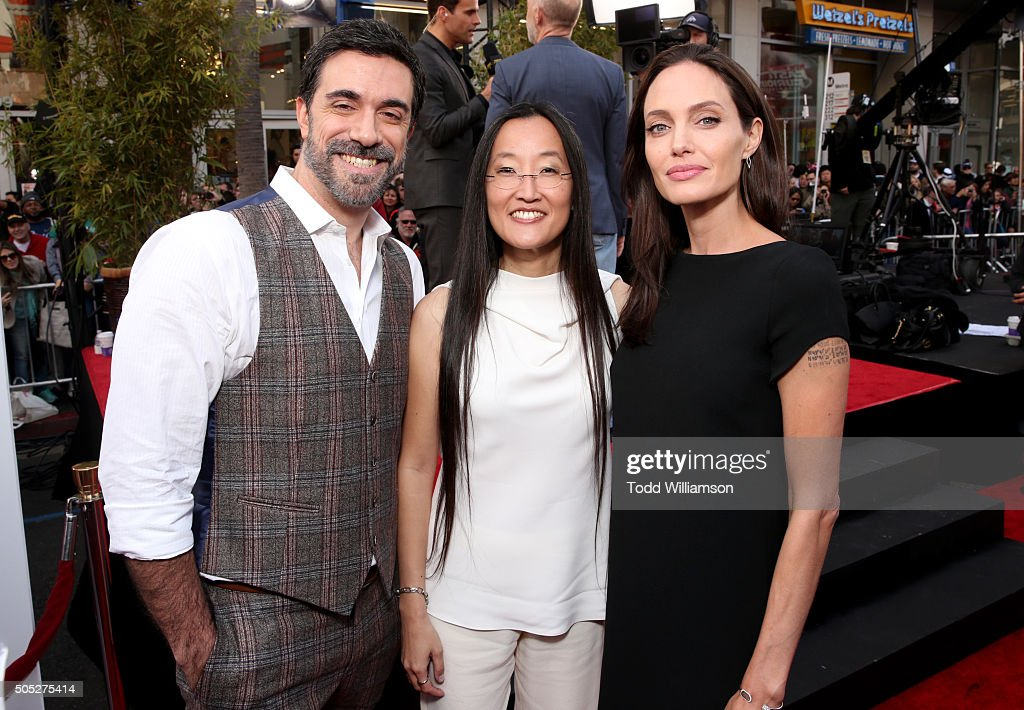 Directors Alessandro Carloni and Jennifer Yuh and actress Angelina Jolie attend the premiere of DreamWorks Animation and Twentieth Century Fox's 'Kung Fu Panda 3' at the TCL Chinese Theatre on January 16, 2016 in Hollywood, California.