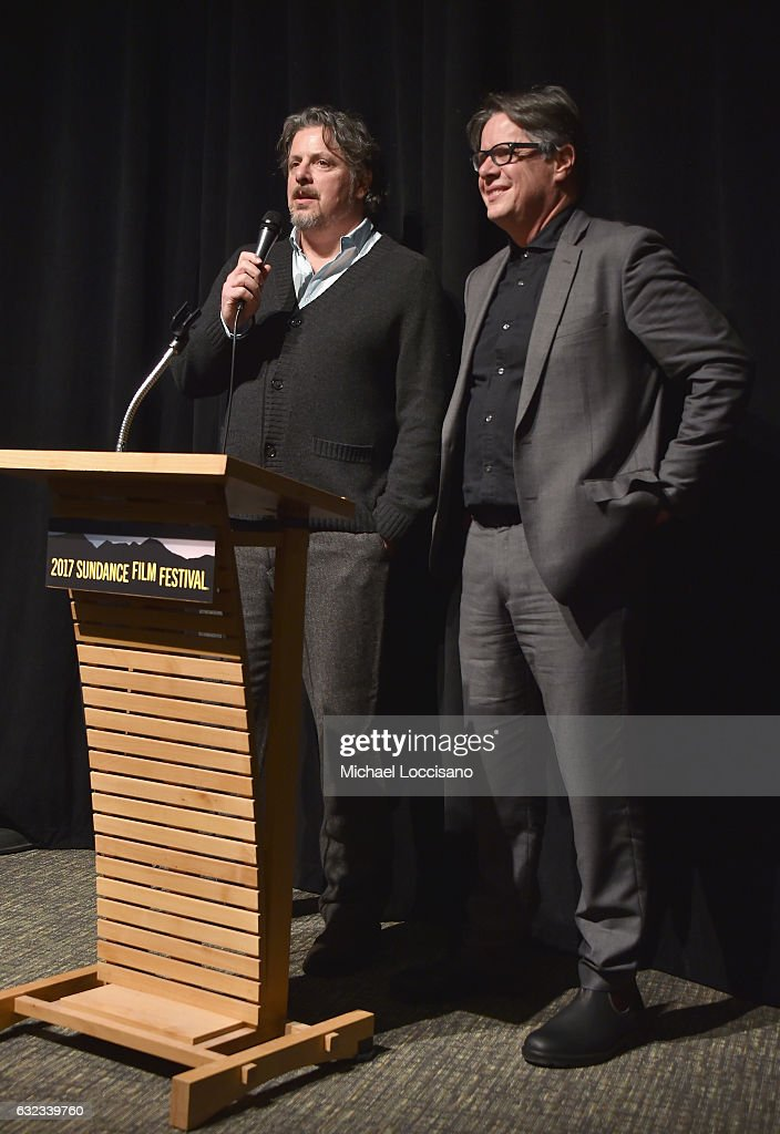 Directors Alex and Andrew Smith speak onstage at the 'Walking Out' premiere on day 3 of the 2017 Sundance Film Festival at Library Center Theater on January 21, 2017 in Park City, Utah.
