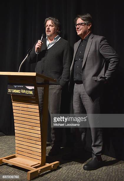 Directors Alex and Andrew Smith speak onstage at the 'Walking Out' premiere on day 3 of the 2017 Sundance Film Festival at Library Center Theater on...