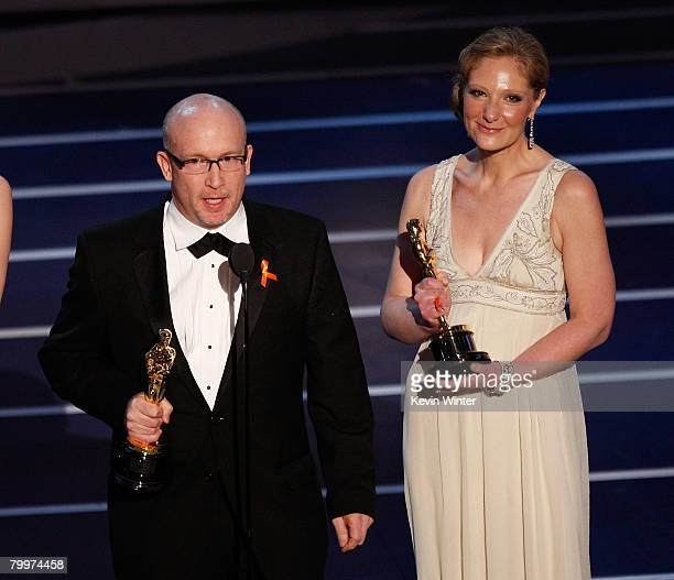 """Directors Alex Gibney and Eva Orner accept the award for Best Documentary Feature for the film """"Taxi to the Dark Side"""" during the 80th Annual Academy..."""
