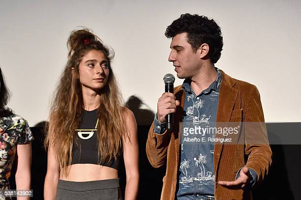 Directors Alexi Pappas and Jeremy Teicher speak onstage at the premiere of 'Tracktown' during the 2016 Los Angeles Film Festival at Arclight Cinemas...