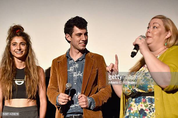 Directors Alexi Pappas Jeremy Teicher and LAFF Programmer Drea Clark speak onstage at the premiere of 'Tracktown' during the 2016 Los Angeles Film...