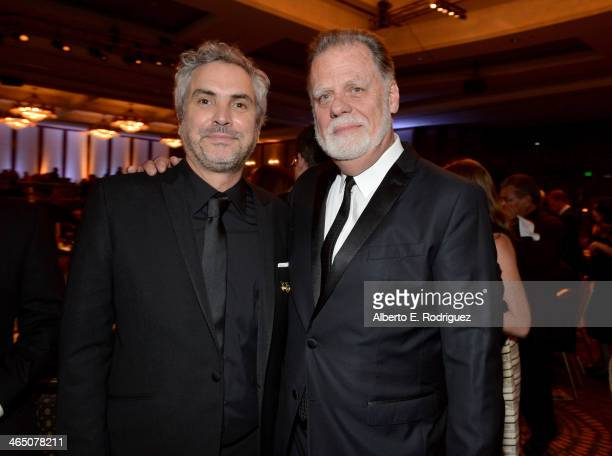 Directors Alfonso Cuaron and Taylor Hackford attend the 66th Annual Directors Guild Of America Awards held at the Hyatt Regency Century Plaza on...