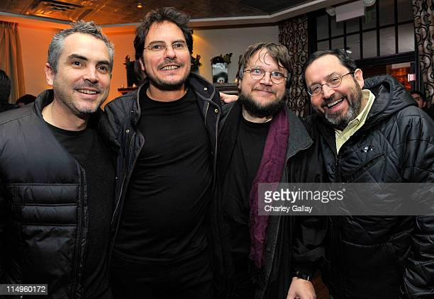 Directors Alfonso Cuaron Carlos Cuaron Guillermo del Toro and CoPresident of Sony Pictures Classics Michael Barker at the Bon Appetit Supper Club...