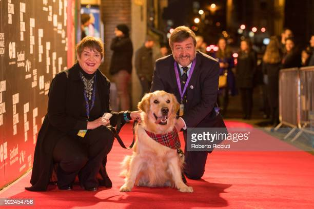 GFF directors Allison Gardner and Allan Hunter and Visit Scotland Ambassador Georgie attend the UK premiere of 'Isle of Dogs' and opening gala of the...