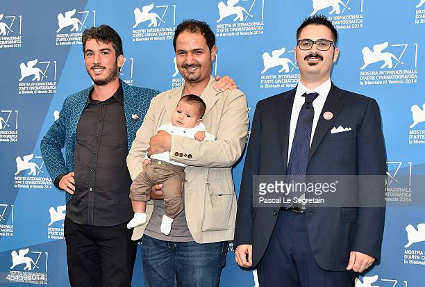 Directors and producers Gabriele del Grande Khaled Soilman al Nassiry and Antonio Augugliaro attend the 'Io Sto Con La Sposa' photocall during the...