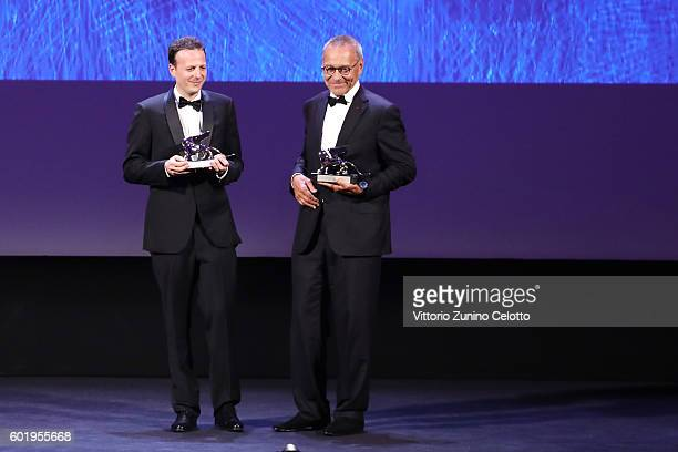 Directors Andrei Konchalovsky and Amat Escalante receive the Silver Lion for Best Director for 'Paradise' and for 'The Untamed' during the closing...