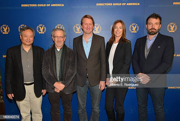 Directors Ang Lee Steven Spielberg Tom Hooper Kathryn Bigelow and Ben Affleck attend the 65th Annual Directors Guild of America Awards President's...