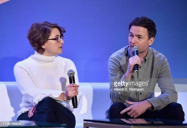 Directors Anna Boden and Ryan Fleck speak onstage during Marvel Studios' 'Captain Marvel' Global Junket Press Conference at The Beverly Hilton Hotel...