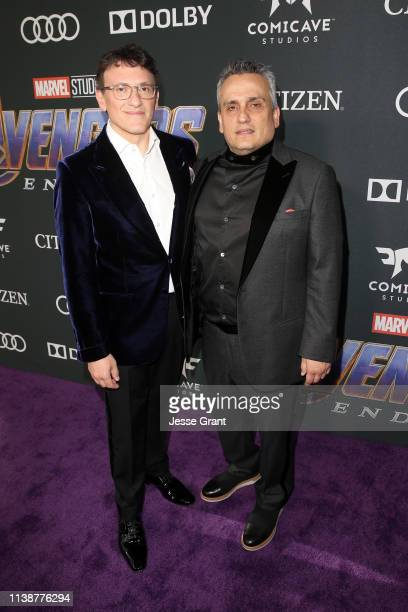 """Directors Anthony Russo and Joe Russo attend the Los Angeles World Premiere of Marvel Studios' """"Avengers: Endgame"""" at the Los Angeles Convention..."""