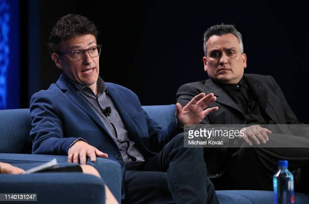 Directors Anthony Russo and Joe Russo participate in a panel discussion during the annual Milken Institute Global Conference at The Beverly Hilton...