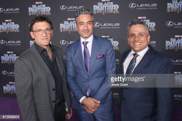 Directors Anthony Russo Taika Waititi and Joe Russo at the Los Angeles World Premiere of Marvel Studios' BLACK PANTHER at Dolby Theatre on January 29...