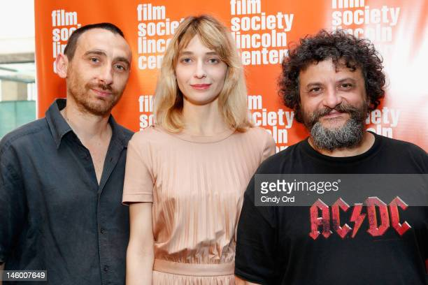 Directors Antonio Manetti and Marco Manetti pose with actress Francesca Cuttica at the 2012 Open Roads New Italian Cinema Festival Opening Night at...