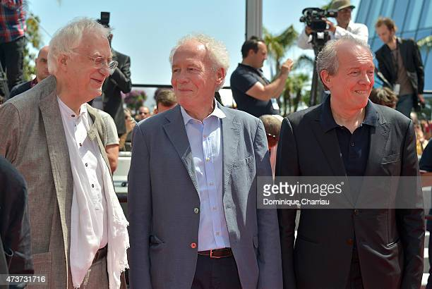"""Directors Bertrand Tavernier, Jean-Pierre Dardenne and Luc Dardenne attend the """"Lumiere!"""" Premiere during the 68th annual Cannes Film Festival on May..."""