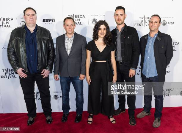 Directors Brian Biegel Jason Sklaver Daniele Anastasion Colin Hanks and Michael Jacobs attend the ESPN Sports Shorts at Regal Battery Park Cinemas on...