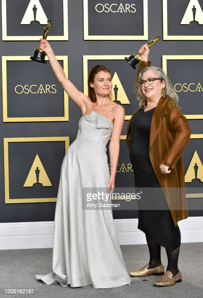 """Directors Carol Dysinger and Elena Andreicheva winners of the Documentary Feature award for """"Learning to Skateboard in a Warzone """" pose in the press..."""