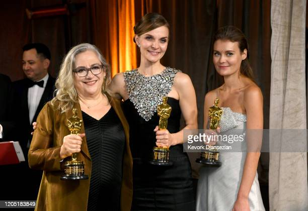 """Directors Carol Dysinger and Elena Andreicheva winners of the Documentary Feature award for """"Learning to Skateboard in a Warzone """" and Composer..."""