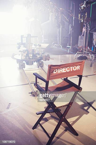 director's chair on movie and television set - film studio stock pictures, royalty-free photos & images
