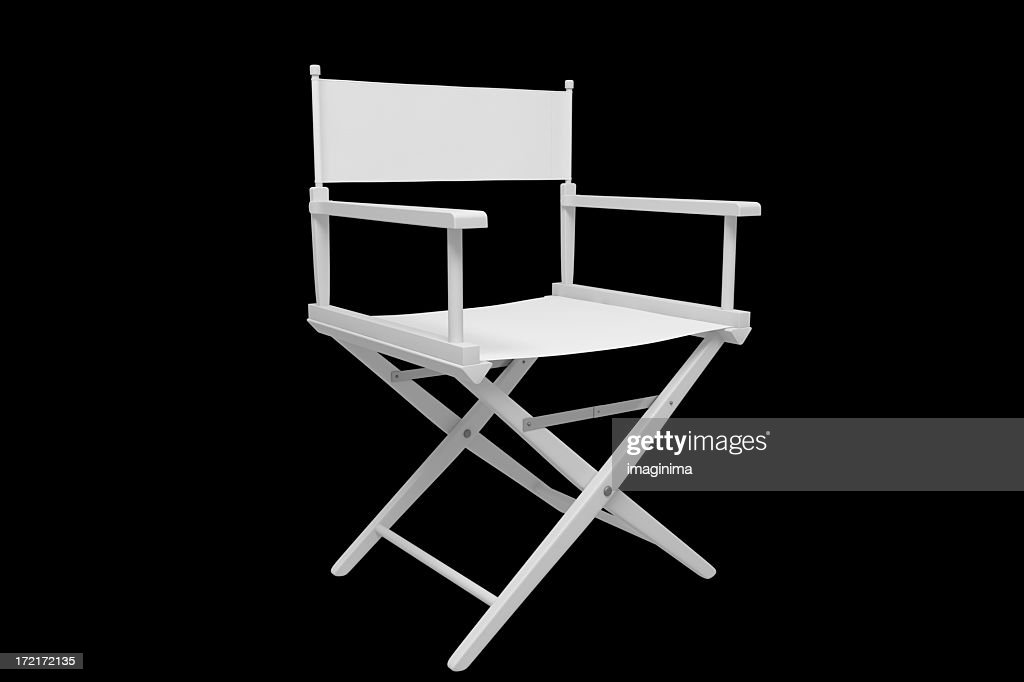 Director's Chair - Plastic / White (with Clipping Path) : Stock Photo
