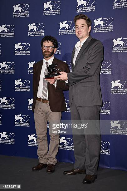 Directors Charlie Kaufman and Duke Johnson pose with the Grand Jury Prize for their movie 'Anomalisa' as they attend the award winners photocall...