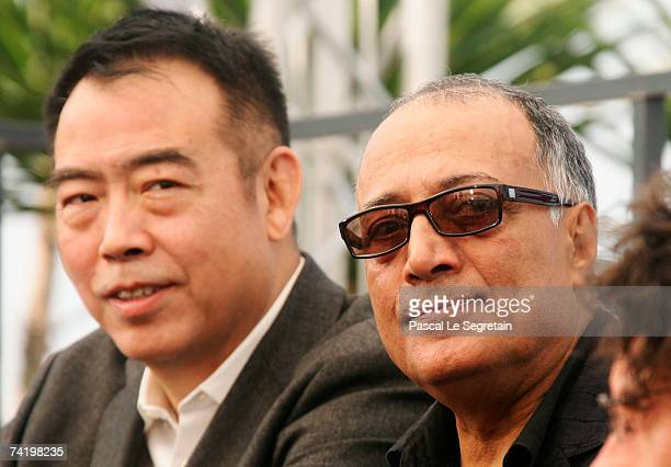 Directors Chen Kaige and Abbas Kiarostami attend a photocall for the film 'Chacun Son Cinema' at the Palais des Festivals during the 60th...