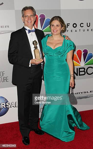 Directors Chris Buck and Jennifer Lee winners of Best Animated Feature film for 'Frozen' attend the NBC Universal's 71st Annual Golden Globe Awards...