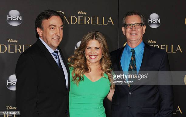 Directors Chris Buck, Jennifer Lee and producer Peter Del Vecho arrive at the World Premiere of Disney's 'Cinderella' at the El Capitan Theatre on...